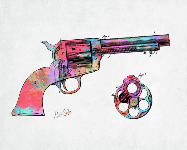 Digital Art - Colorful 1875 Colt Peacemaker Revolver Patent Minimal by Nikki Marie Smith