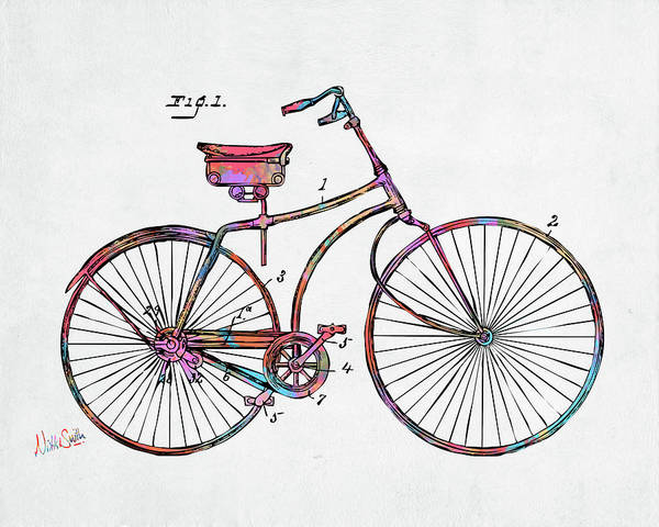 Digital Art - Colorful 1890 Bicycle Patent Minimal by Nikki Marie Smith
