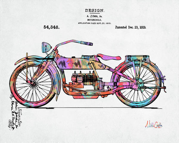 Digital Art - Colorful 1919 Harley-davidson Motorcycle Patent by Nikki Marie Smith