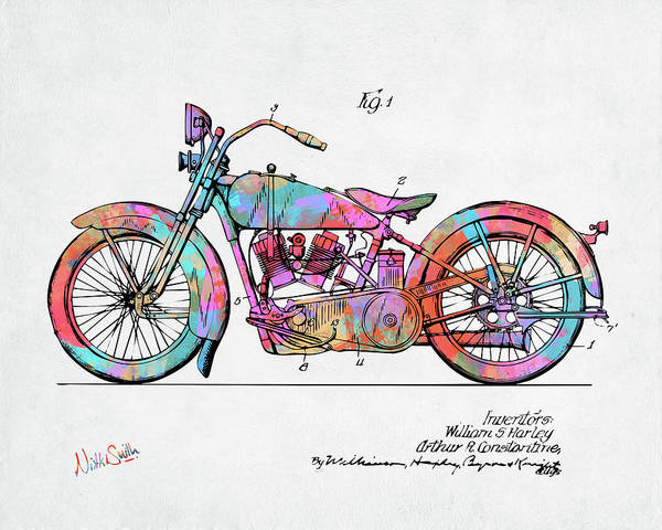 Digital Art - Colorful 1928 Harley Motorcycle Patent Artwork by Nikki Marie Smith