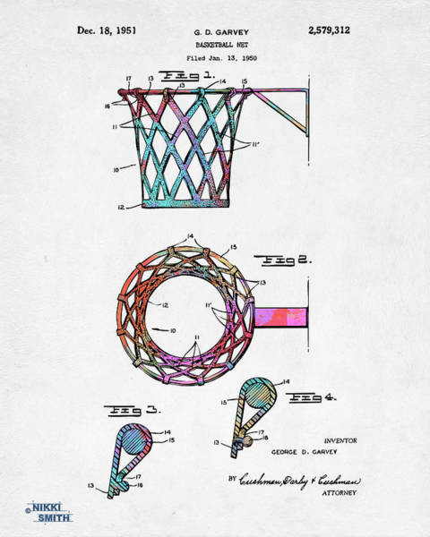 Digital Art - Colorful 1951 Basketball Net Patent Artwork by Nikki Marie Smith