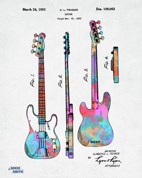 Digital Art - Colorful 1953 Fender Bass Guitar Patent Artwork by Nikki Marie Smith