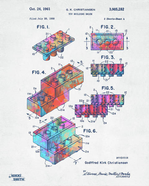 Digital Art - Colorful 1961 Toy Building Brick Patent Art by Nikki Marie Smith
