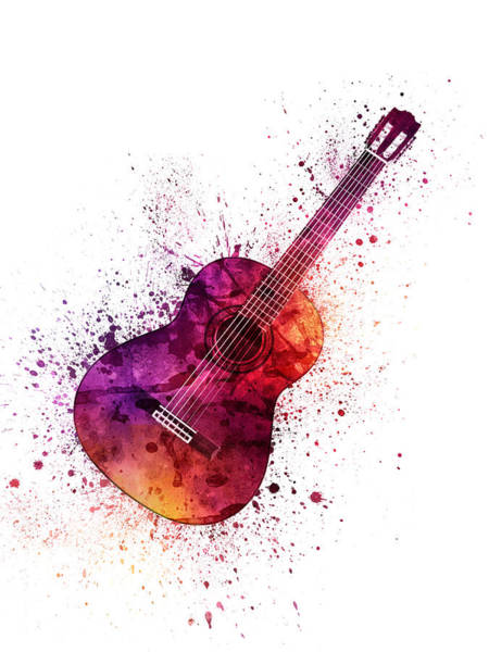 Wall Art - Painting - Colorful Acoustic Guitar 04 by Aged Pixel