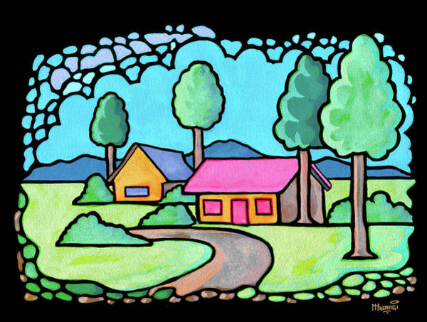 Farmstead Painting - Houses And Trees by Anthony Mwangi