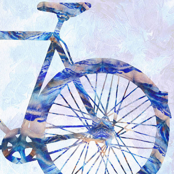 Painting - Blue Bicycle Silhouette Back Wheel  by Irina Sztukowski