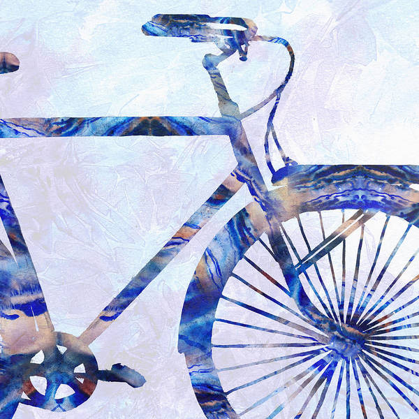 Painting - Blue Bicycle Silhouette Front Wheel by Irina Sztukowski