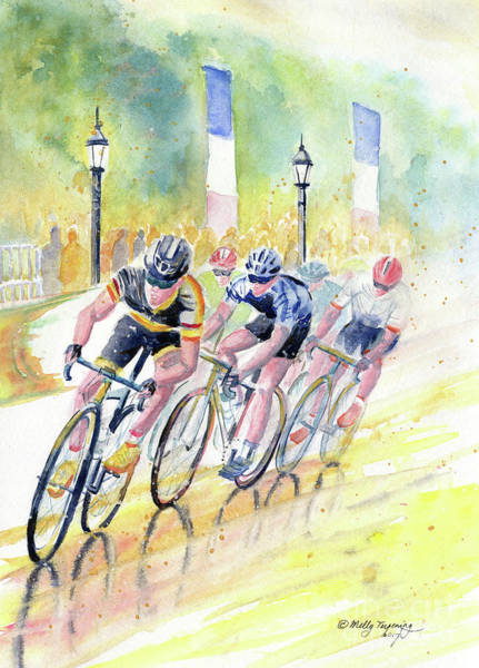 Bike Racing Painting - Colorful Bike Race Art by Melly Terpening