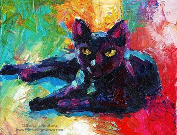 Colorful Black Cat Painting By Svetlana Art Print