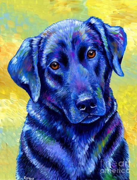 Painting - Colorful Black Labrador Retriever Dog by Rebecca Wang