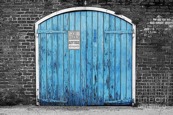 Colorful Blue Garage Door French Quarter New Orleans Color Splash Black And White And Poster Edges Art Print