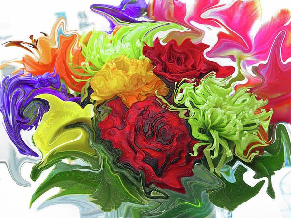 Liquify Photograph - Colorful Bouquet by Kathy Moll