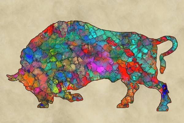 Wall Art - Painting - Colorful Buffalo by Jack Zulli