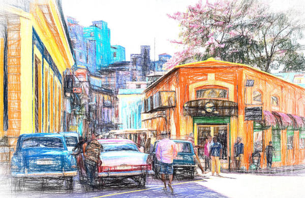Photograph - Colorful Buildings And Old Cars In Havana - V3 by Les Palenik