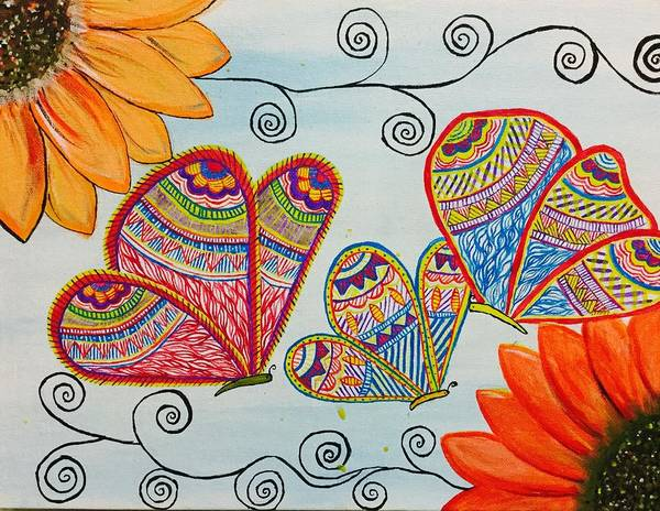 Colorful Butterfly In Madhubani Art Art Print