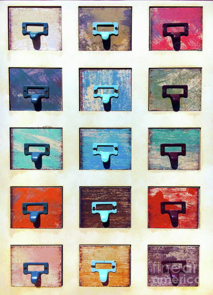 Wall Art - Photograph - Colorful Cabinet Draws by Tom Gowanlock