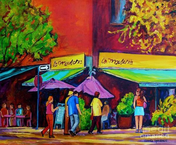 Painting - Colorful Cafes Original Painting For Sale  Paris Style Outdoor Sidewalk Bistro Scene C Spandau Art   by Carole Spandau
