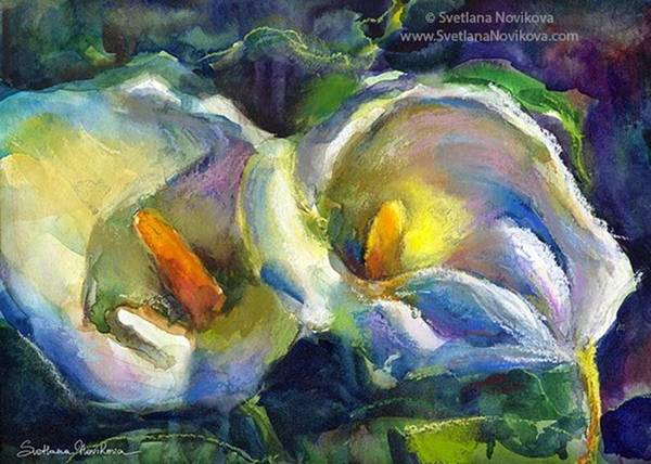 Colorful Calla Flowers Painting By Art Print