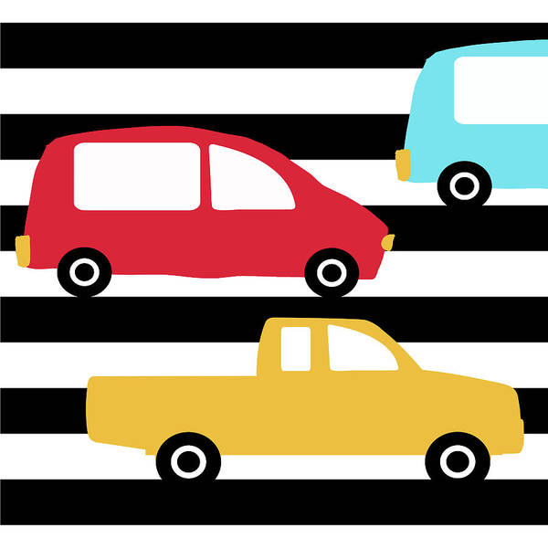 Driving Wall Art - Digital Art - Colorful Cars- Art By Linda Woods by Linda Woods