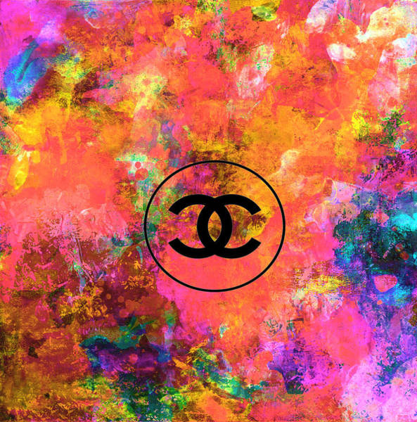 Wall Art - Mixed Media - Colorful Chanel Logo Print by Del Art