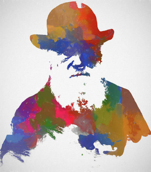 Wall Art - Painting - Colorful Charles Darwin by Dan Sproul