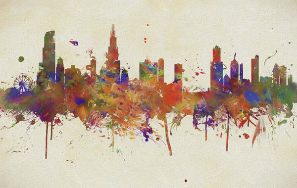 Wall Art - Painting - Colorful Chicago Illinois Skyline by Dan Sproul