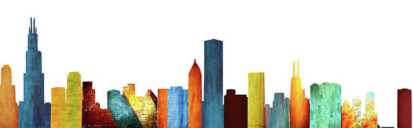 Wall Art - Digital Art - Colorful Chicago Skyline by Art Spectrum