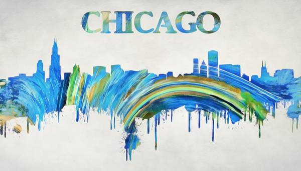 Wall Art - Painting - Colorful Chicago Skyline by Dan Sproul