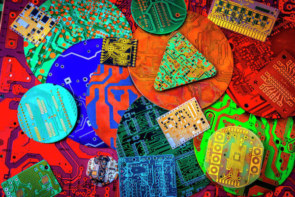 Wall Art - Photograph - Colorful Circuit Boards by Garry Gay