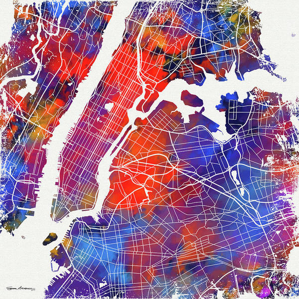 Digital Art - Colorful Cities - City Map New York  by Serge Averbukh