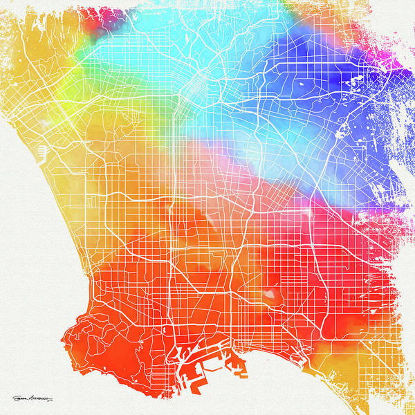 Digital Art - Colorful Cities - City Map Of Los Angeles by Serge Averbukh