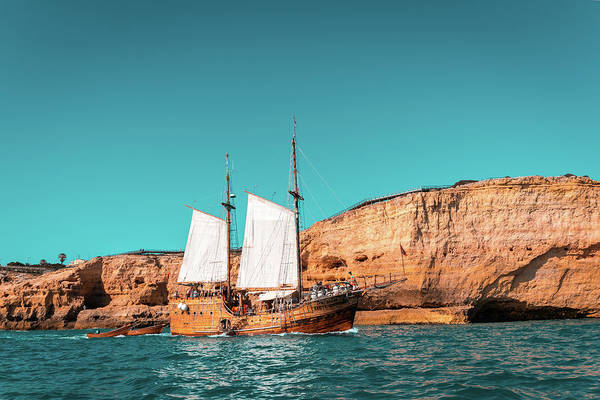 Complementary Colours Photograph - Colorful Coastal Sailing On An Old Wooden Tall Ship by Georgia Mizuleva