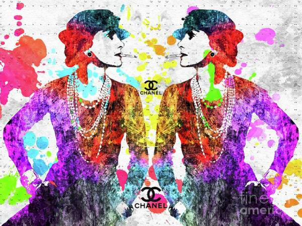 Vogue Mixed Media - Colorful Coco Chanel Grunge  by Daniel Janda