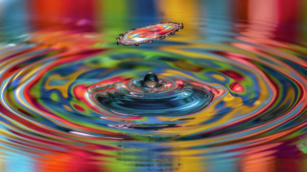 Gota Photograph - Colorful Collisions, Splash Of Water by Sanchez PhotoArt
