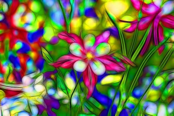 Fleur Digital Art - Colorful Columbines by Jean-Marc Lacombe