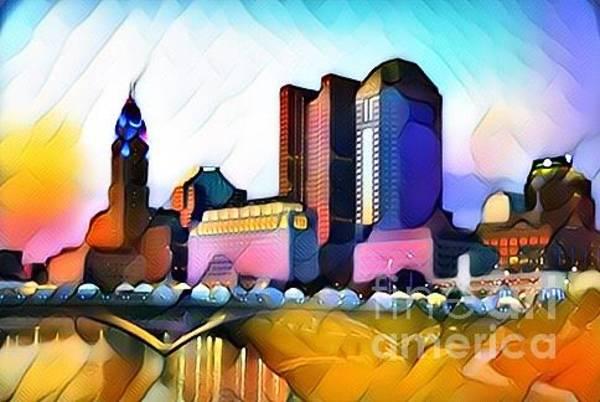 Osu Digital Art - Colorful Columbus by Douglas Sacha