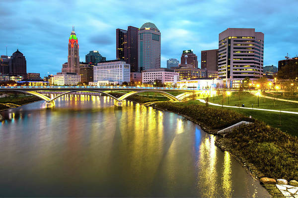 Photograph - Colorful Columbus Ohio - Night Skyline Photography by Gregory Ballos