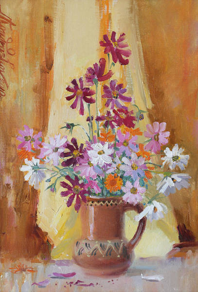 Painting - Colorful Cosmos Flowers In Vase by Ilya Kondrashov