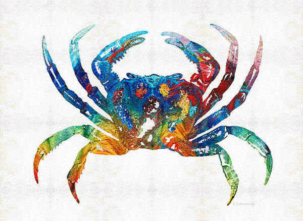 Louisiana Wall Art - Painting - Colorful Crab Art By Sharon Cummings by Sharon Cummings