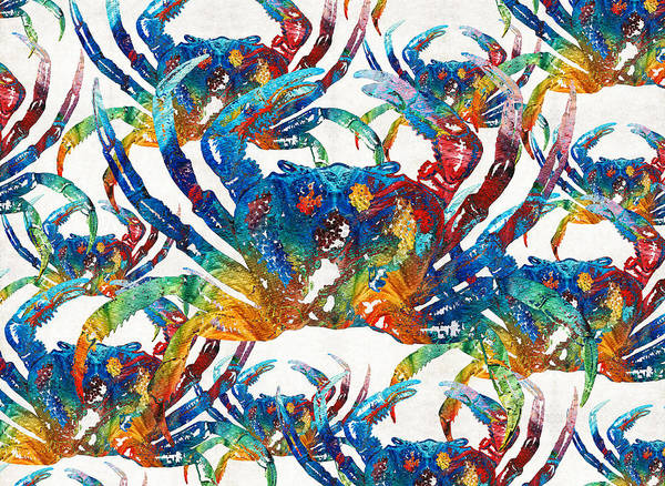 Painting - Colorful Crab Collage Art By Sharon Cummings by Sharon Cummings