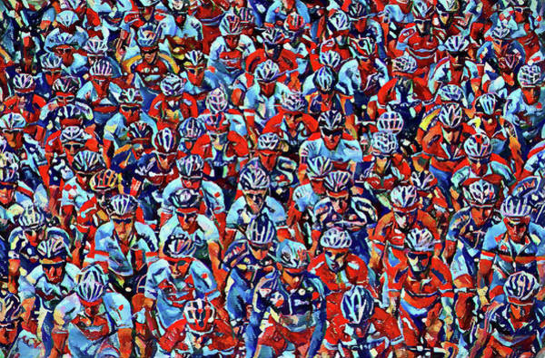 Cycling Helmet Painting - Colorful Cyclists by Dan Sproul