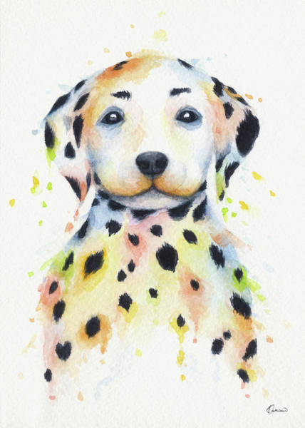 Wall Art - Painting - Colorful Dalmatians by Kathleen Wong