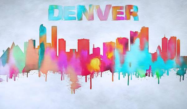 Wall Art - Painting - Colorful Denver Skyline Silhouette by Dan Sproul