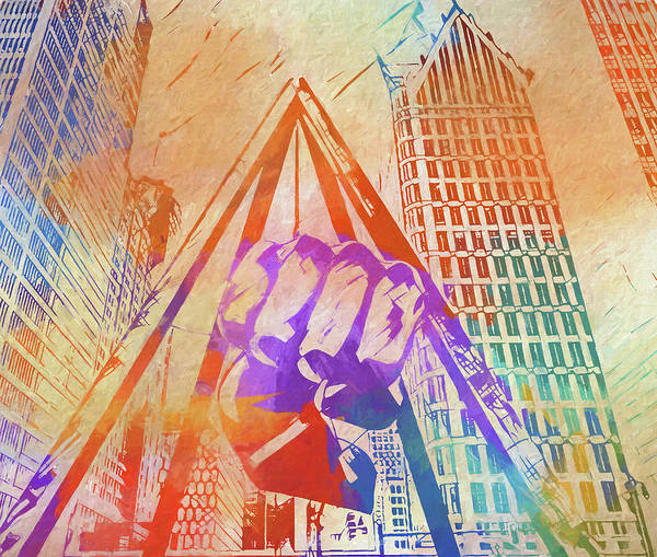 Wall Art - Painting - Colorful Detroit Fist by Dan Sproul