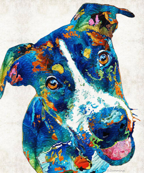 Painting - Colorful Dog Art - Happy Go Lucky - By Sharon Cummings by Sharon Cummings