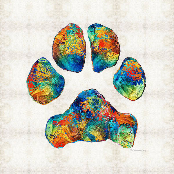 Wall Art - Painting - Colorful Dog Paw Print By Sharon Cummings by Sharon Cummings