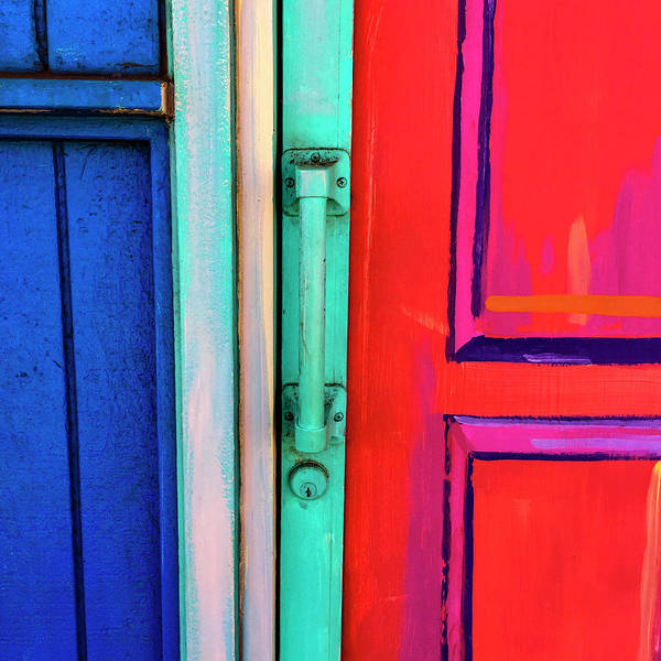 Bright Colorful Mixed Media - Colorful Doors Real And Otherwise by Carol Leigh