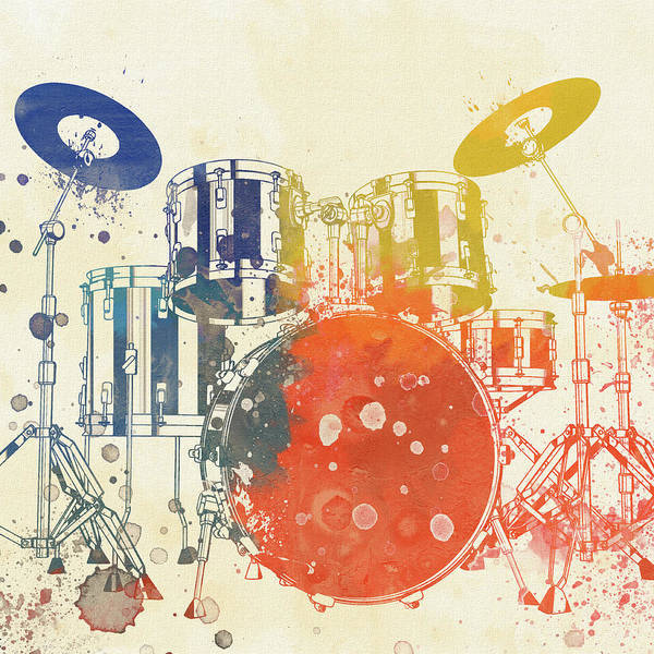 Wall Art - Painting - Colorful Drum Set by Dan Sproul