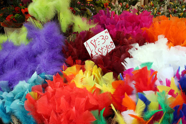 Market Photograph - Colorful Easter Feathers by Linda Woods
