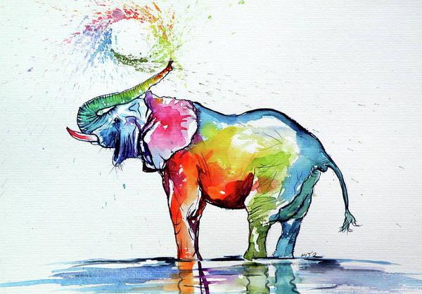 Wall Art - Painting - Colorful Elephant Playing V by Kovacs Anna Brigitta